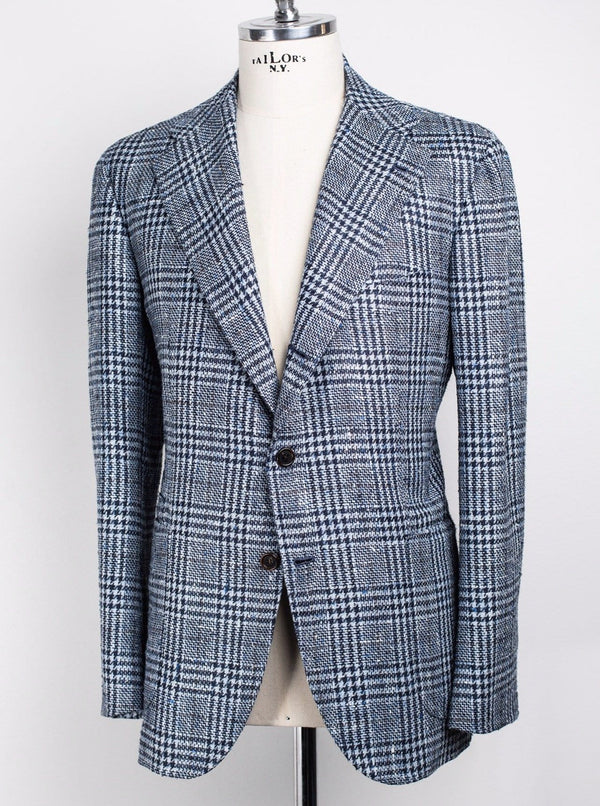 Blue Check - Wool, Silk & Linen - 52