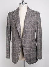 Grey Check Jacket - Wool Silk & Linen - 50