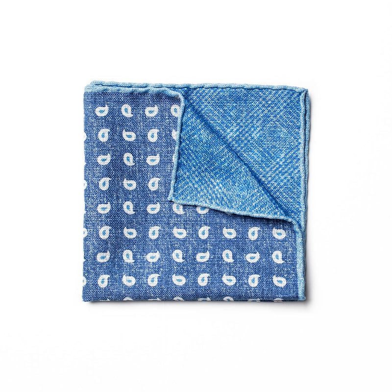 Paisley Linen Pocket Square - Blue
