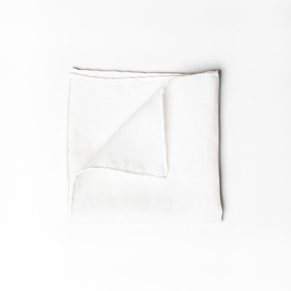 Linen Pocket Square - White