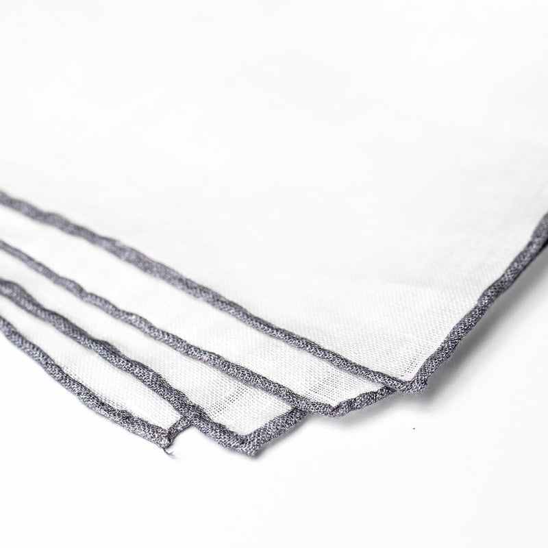 Linen Pocket Square - Grey Edge