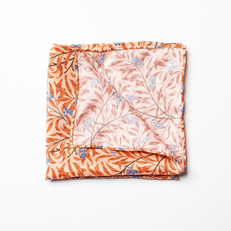 Tie Your Tie Pocket Square - Peach / Blue