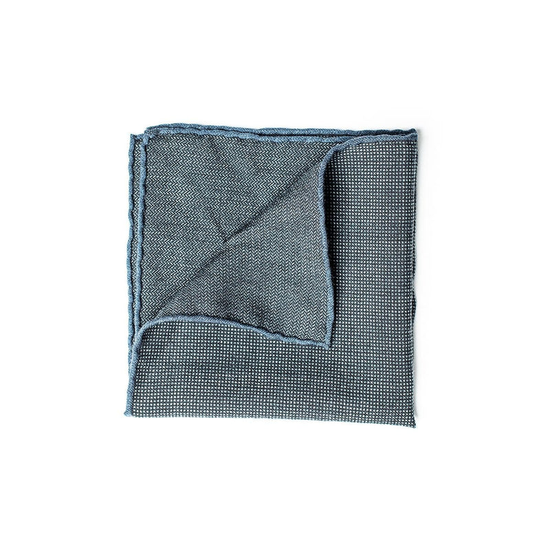 Wool Pattern Pocket Square - Navy