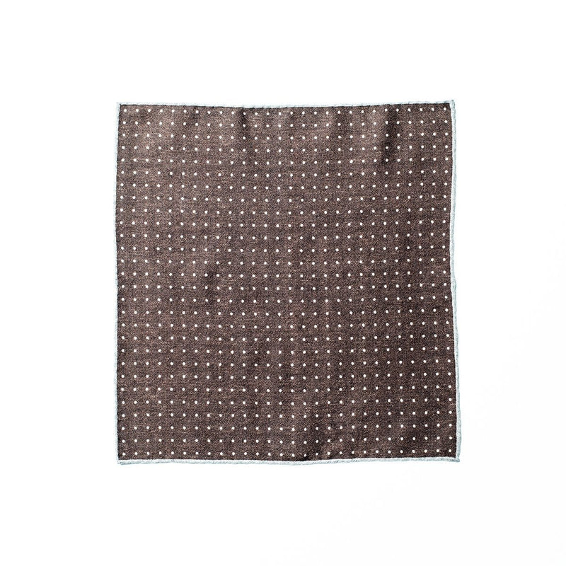 Wool Pocket Square - Brown/Grey