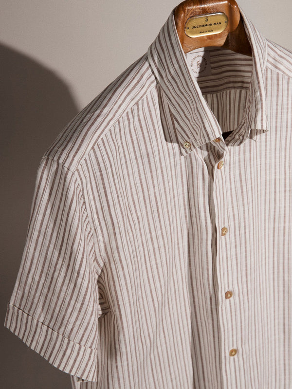 S/S White & Brown Double Stripe - Short Sleeve