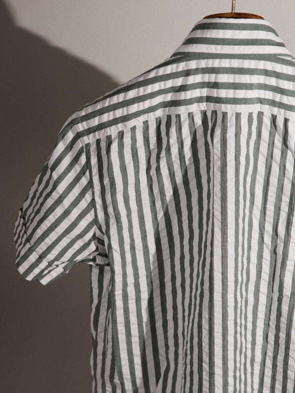 S/S Seersucker Cabana Stripe Shirt - Verde Green