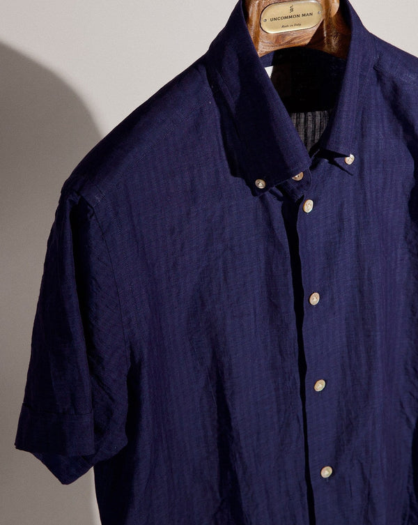 S/S Seersucker Button Down Shirt - Navy