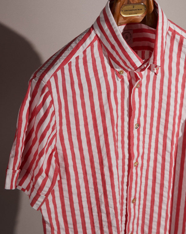 S/S Seersucker Cabana Stripe Shirt - Red Clay