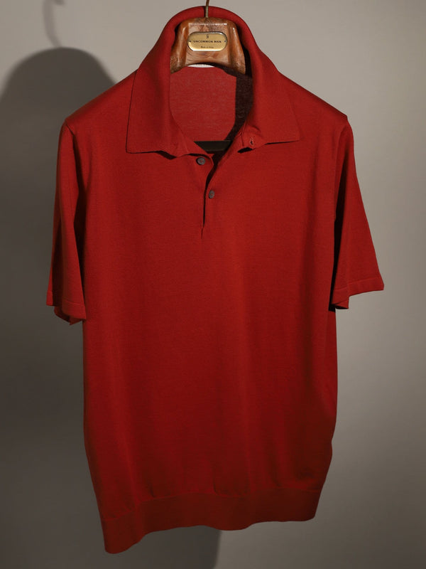 S/S Cotton Polo - Red Clay