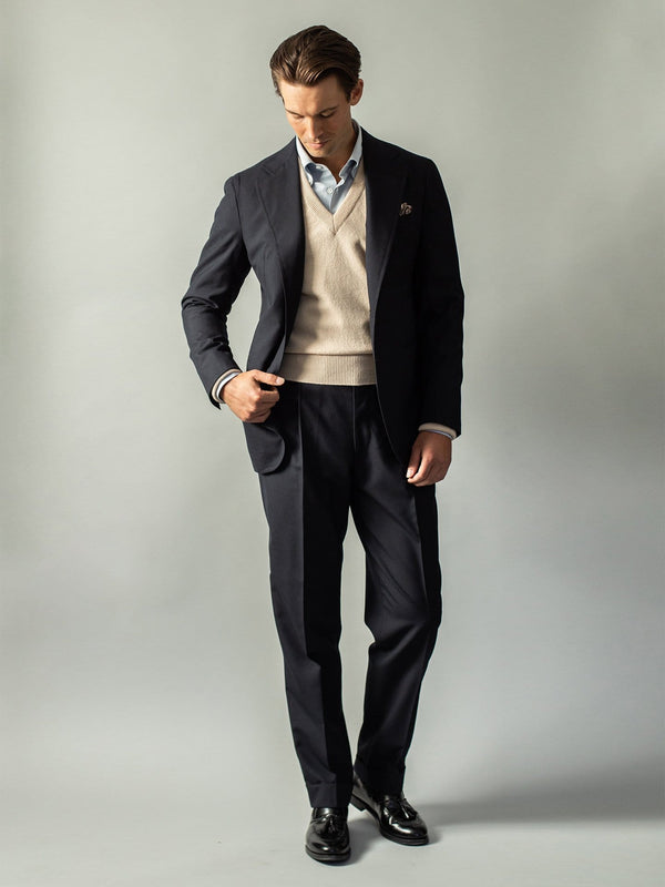 Navy Two Button Fresco Suit  - Custom Made