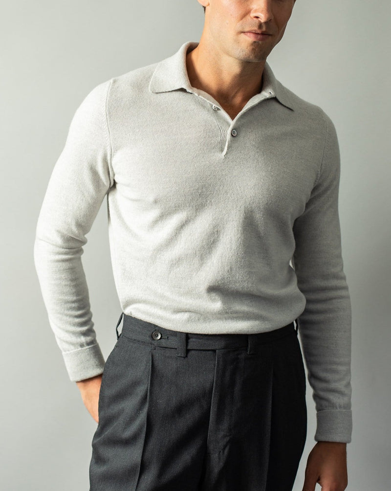 Wool and Cashmere-Blend Polo - Grey