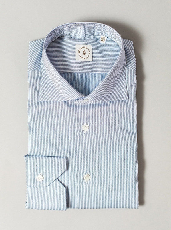 Cutaway Collar Shirt - Blue Micro Stripe