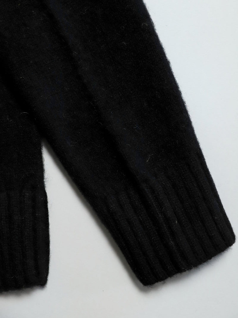 Shetland Wool Brushed Sweater - Black