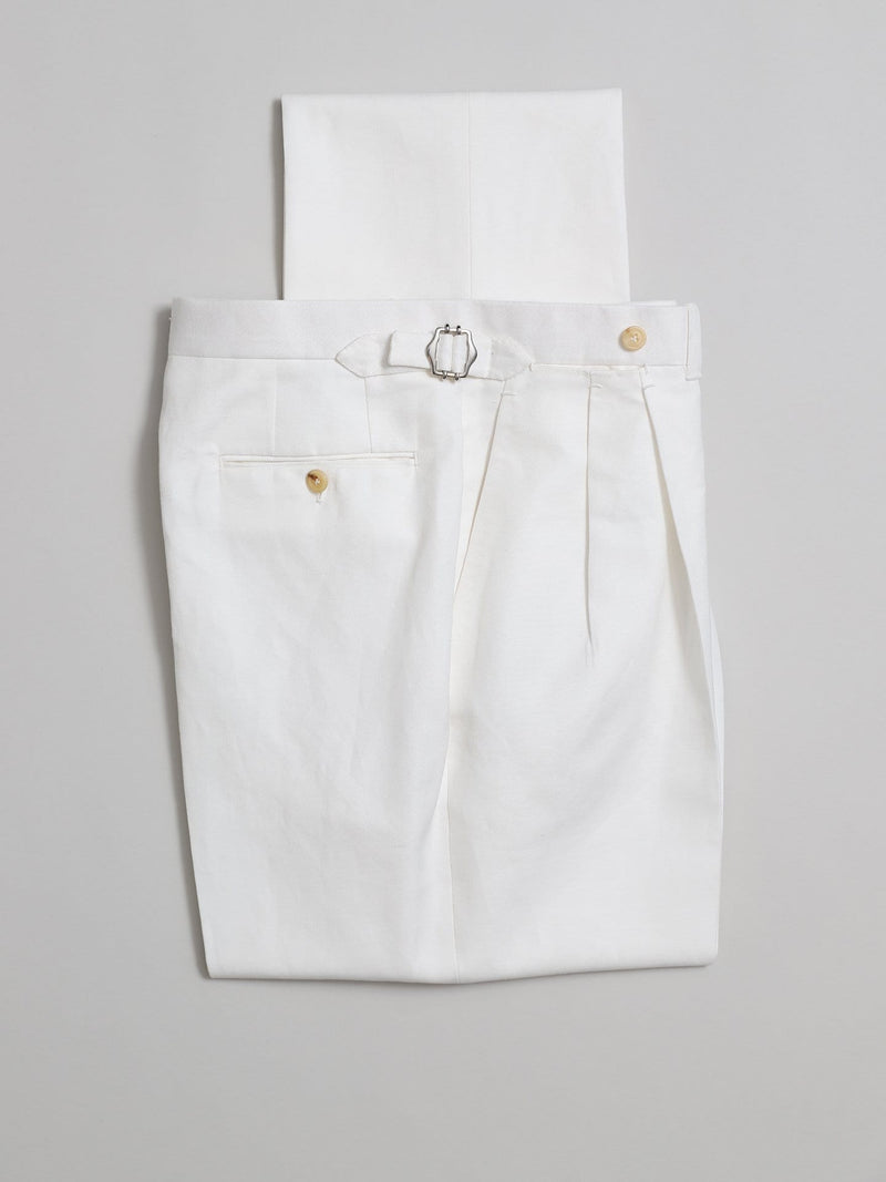 White Shelby Cotton & Linen-blend Trousers