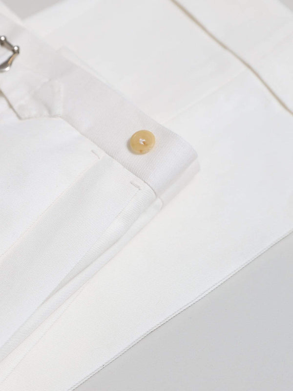 White Cotton & Linen-blend Double Pleat 'Shelby' Trousers
