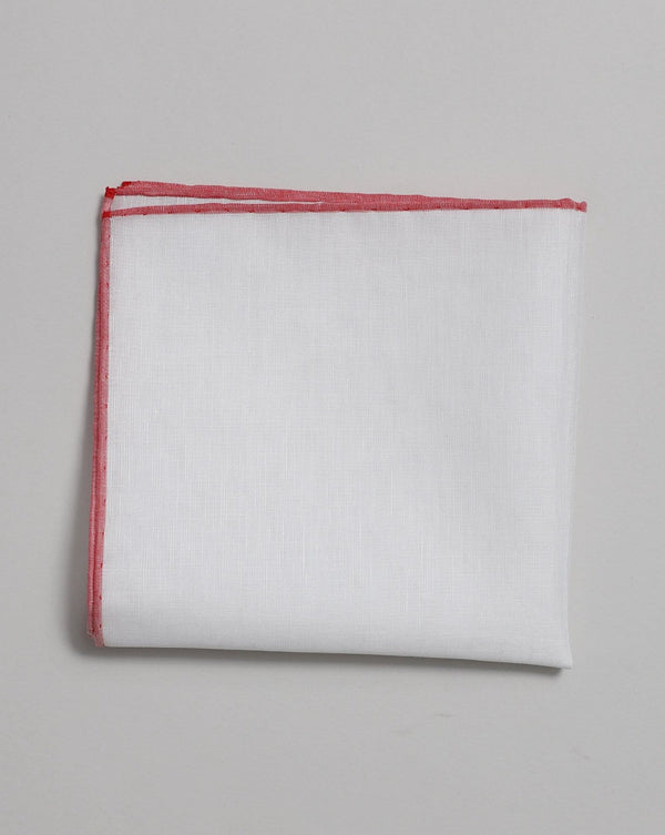 White with Red Trim Cotton & Linen-blended Pocket Square