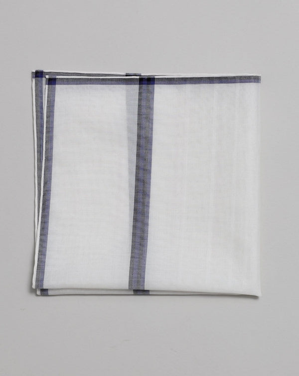 White, Blue & Black Cotton Pocket Square