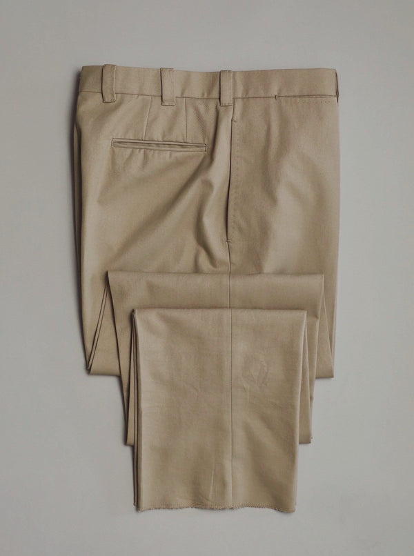 Khaki Flat Front Cotton 'Eames' Trousers