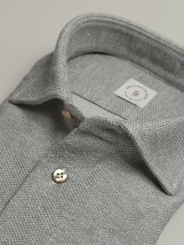 Grey Cotton-Linen-Blend Pique Shirt