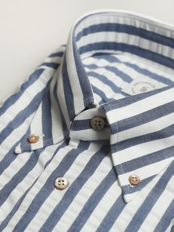 Seersucker Button Down Shirt - Blue Cabana strip