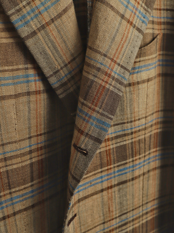 Honey Unlined Check Linen 'Lee' Jacket
