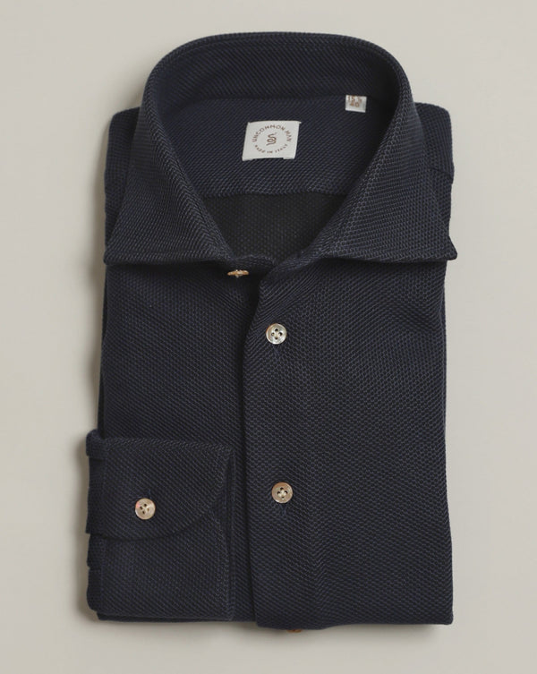 Navy Cotton Pique Shirt