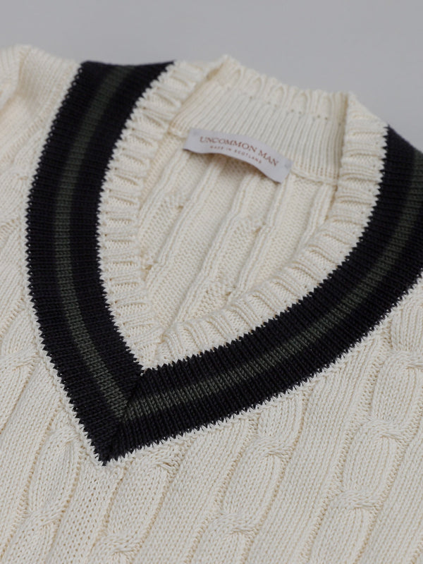 Cotton Tennis Sweater - Ecru