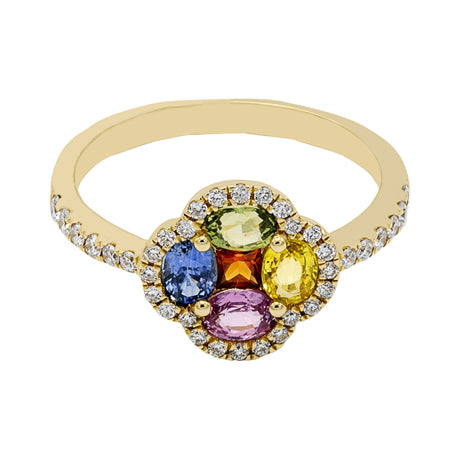 Multicolored Sapphire Diamond Ring in 14K Yellow Gold