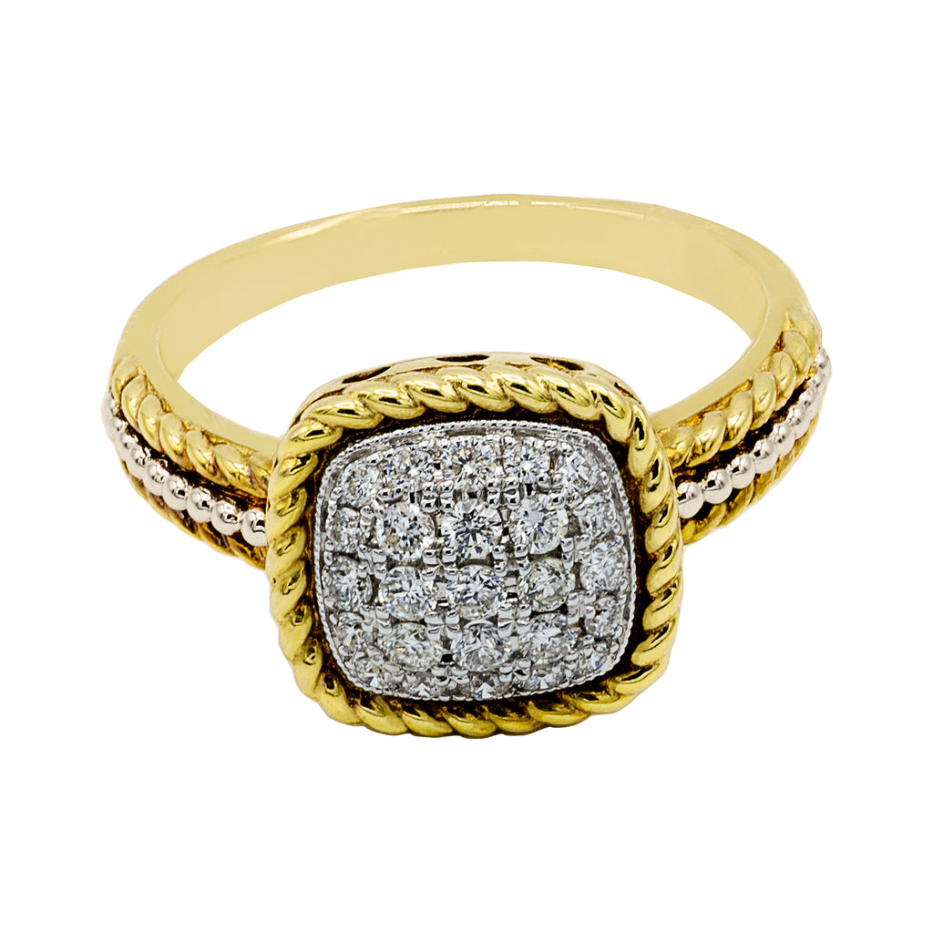 Cushioned Diamond Ring in 14K Yellow Gold