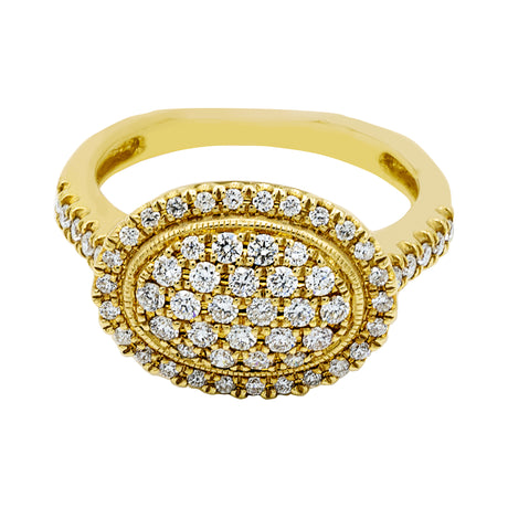 Oval Shaped Diamond Ring in 14K Yellow Gold