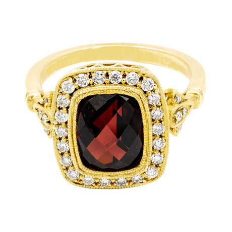 Garnet Diamond Ring in 14K Yellow Gold