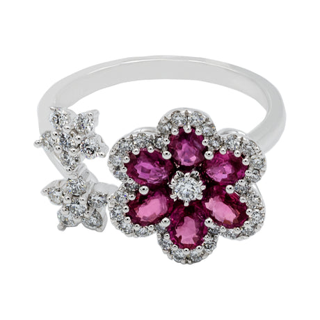 Ruby Diamond Ring in 18K White Gold