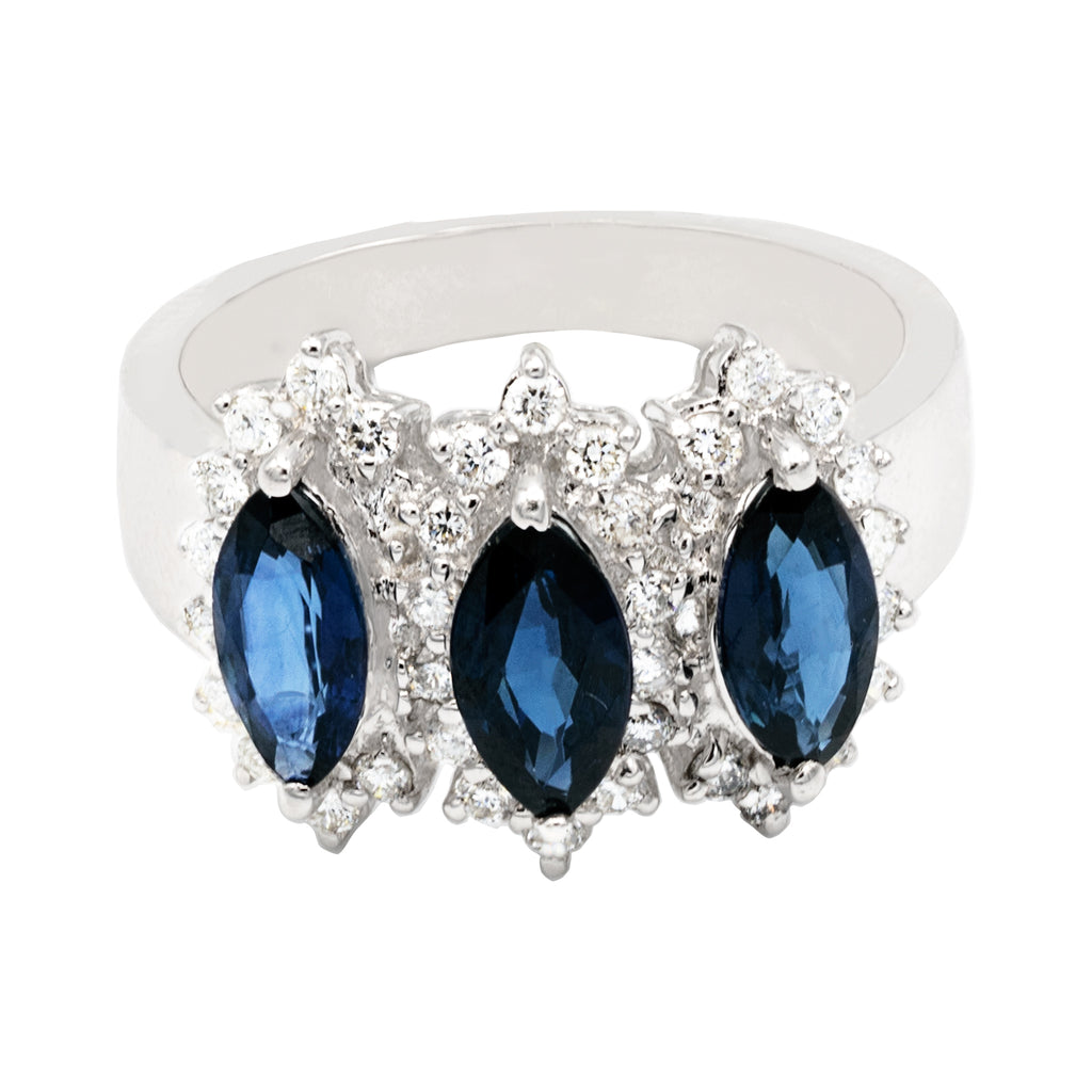Marquise Sapphire Diamond Ring in 18K White Gold