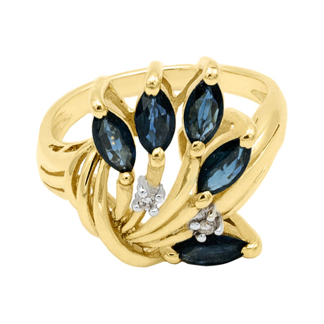 Flower Sapphire Diamond Ring in 14K Yellow Gold