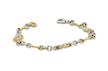 1 CT. Diamond Twisted Cable Oval Shaped Link Bracelet