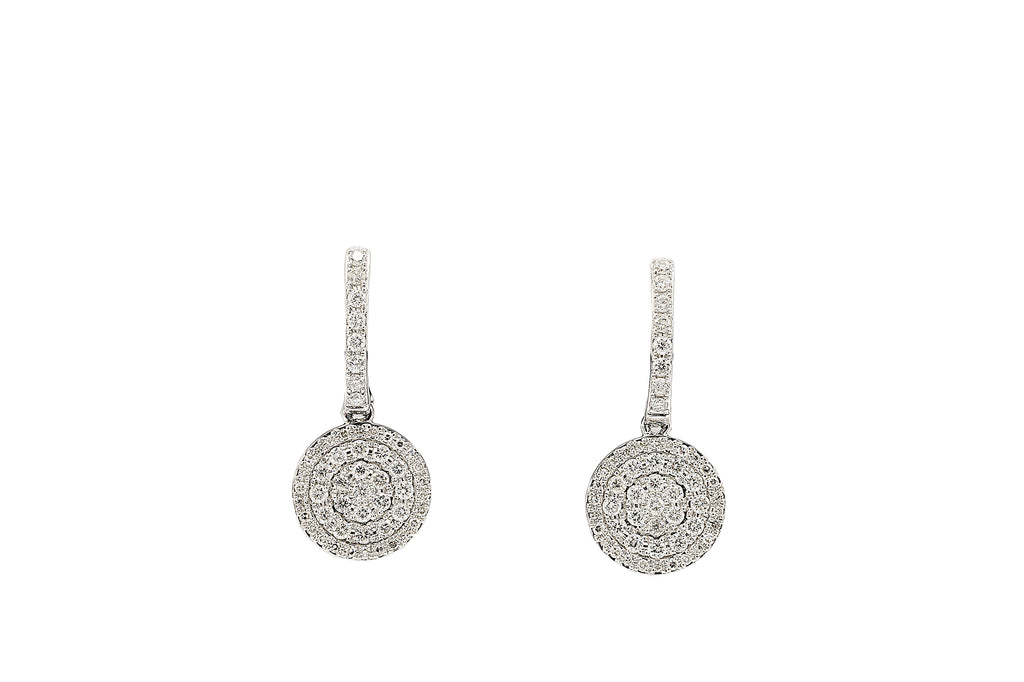 1 CT. Diamond Huggie Dangling Earrings in 14K White Gold