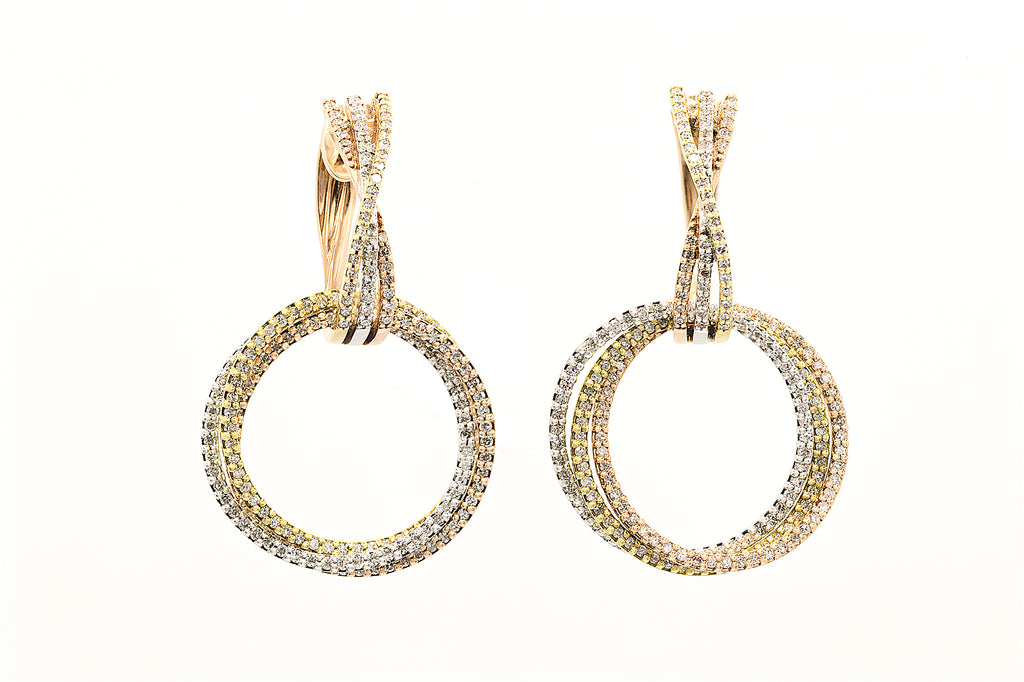 1.05 CT. Diamond Tri-Color Circle Earrings