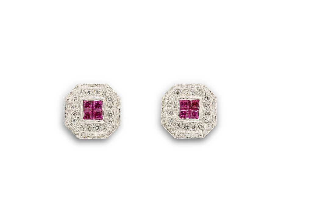 3/4 CT. Diamond and 1 CT. Ruby Octagon Shaped Stud Earrings in 14K White Gold
