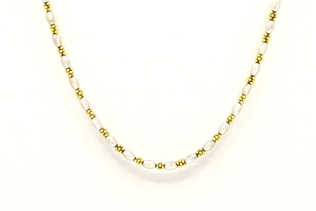 30 Grams Gold Beaded Design Necklace in 14K Yellow and White Gold - 30""