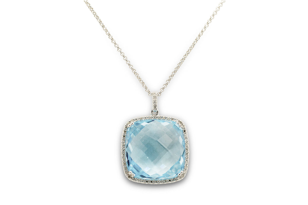 17 CT. London Blue Topaz and Diamond Bezel Pendant