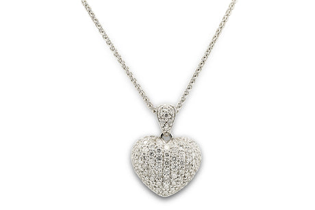 1.5 CT. Diamond Pave Heart Pendant in 18K White Gold