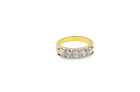 1 3/4 CT. Diamond Shared Prong Wedding Band in 14K Yellow Gold and Platinum
