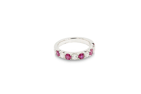 3/4 CT. Diamond and 3/4 CT. Ruby Anniversary Band in 18K White Gold
