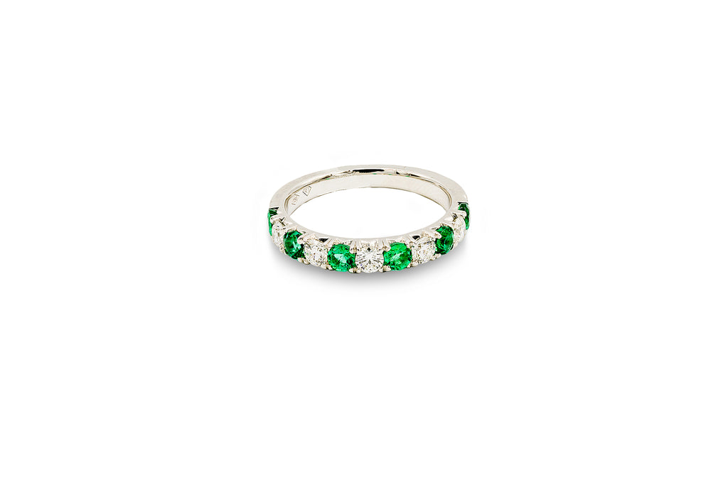 1/2 CT. Diamond and 3/4 CT. Emerald Anniversary Band in 18K White Gold