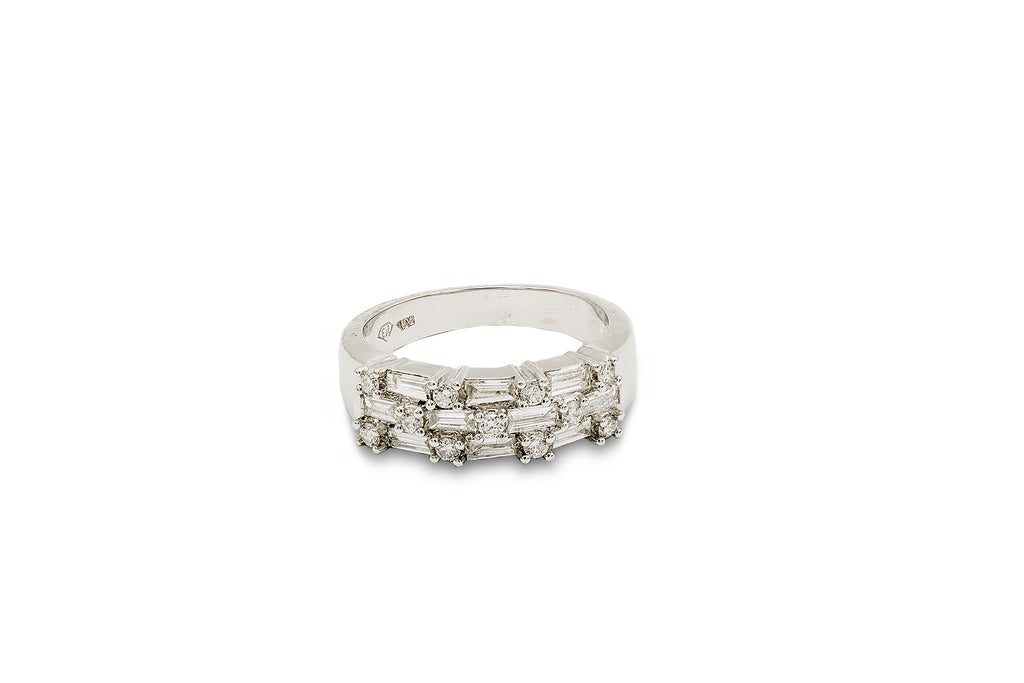 1/2 CT. Diamond and 1 1/2 CT. Baguettes Wedding Band in 14K White Gold