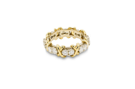 1 1/2 CT. Diamond Criss-Cross Wedding Band in 18K Yellow Gold and Platinum