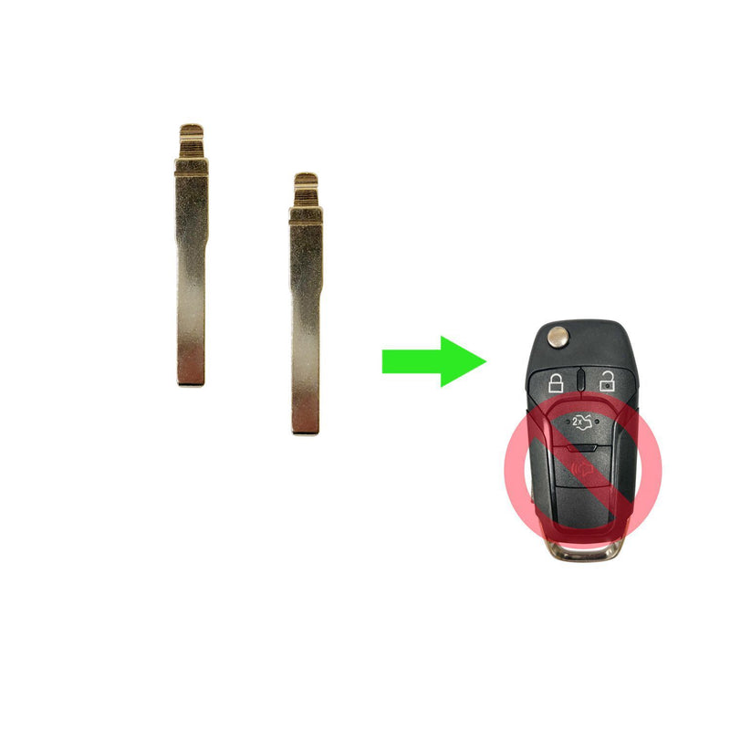 2 REPLACEMENT KEYLESS REMOTE FLIP KEY UNCUT KEY BLADE BLANK FOR FORD N5F-A08TAA