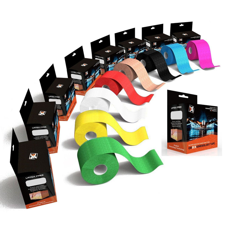 BEX TAPE PRO Kinesiology Sports Tape, 20 Precut 10in Strips, 100% Synthetic, Water Resistant, Breathable For Athletes
