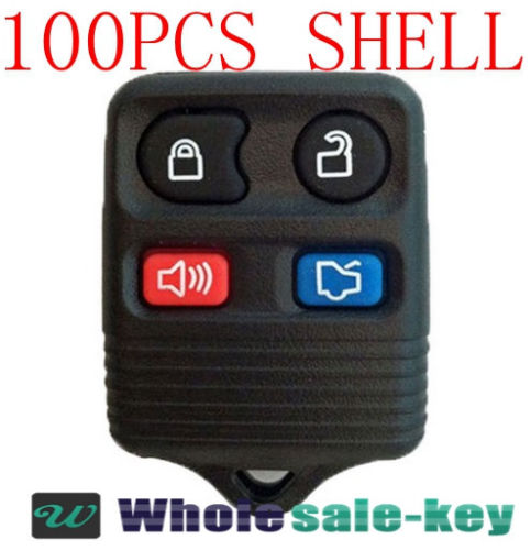 LOT 100 x BRAND NEW FORD 4-BUTTON KEY KEYLESS REMOTE FOB SHELL CASE + RUBBER PAD