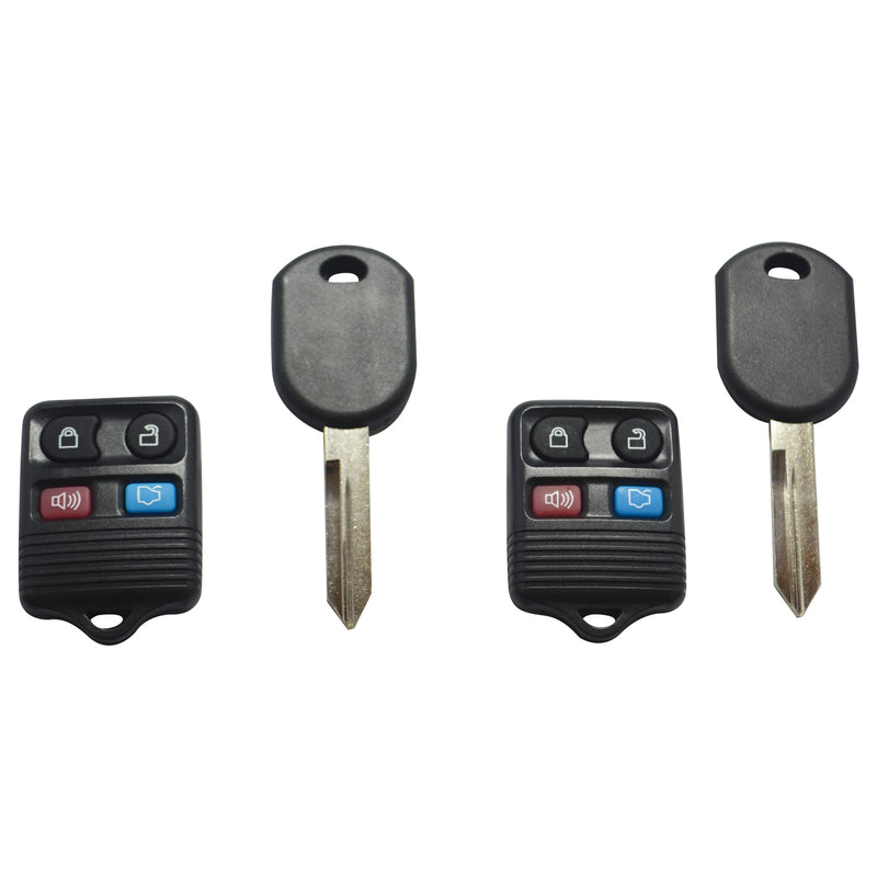 2 Replacement Keyless Entry Remote Fob & Ignition Transponder Chip Key For Ford